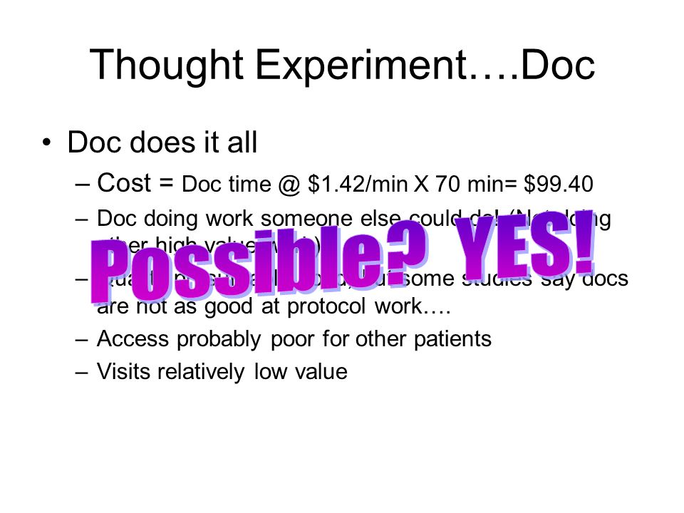 Thought experiment….Nurse Nurse does it all –Cost = Nurse time @ $0.66/min X 70 min = $46.20 –Nurse not able to do all parts of the work (order/interpret)…although APN may…..