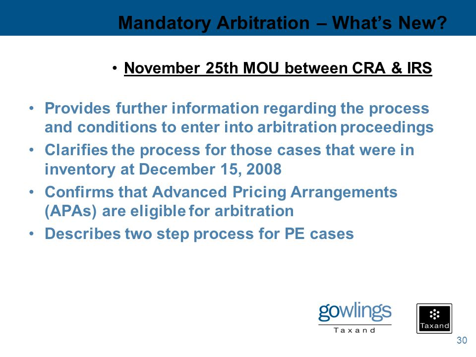 30 Mandatory Arbitration – What's New.