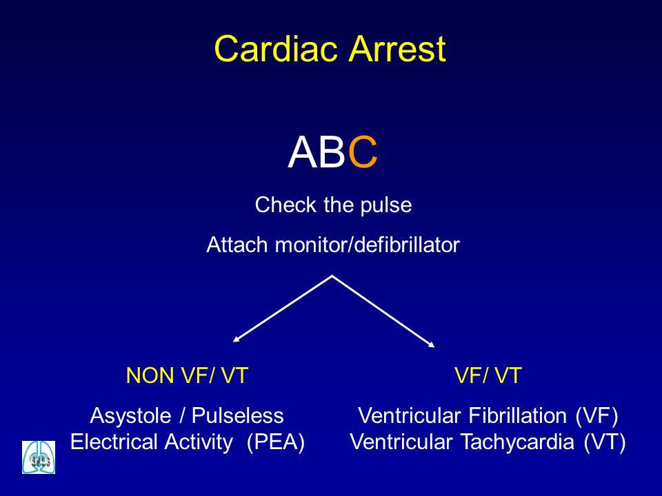 Cardiac Arrest ABC Check the pulse Attach monitor/defibrillator VF/ VT Ventricular Fibrillation (VF) Ventricular Tachycardia (VT) NON VF/ VT Asystole