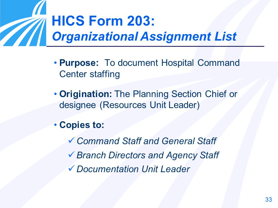 33 Purpose: To document Hospital Command Center staffing Origination: The Planning Section Chief or designee (Resources Unit Leader) Copies to: Comman