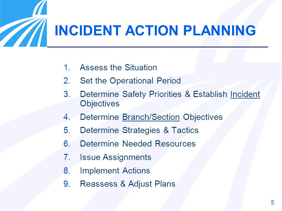 5 1.Assess the Situation 2.Set the Operational Period 3.Determine Safety Priorities & Establish Incident Objectives 4.Determine Branch/Section Objecti