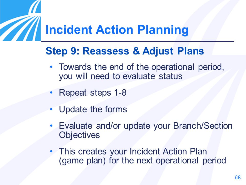68 Towards the end of the operational period, you will need to evaluate status Repeat steps 1-8 Update the forms Evaluate and/or update your Branch/Se