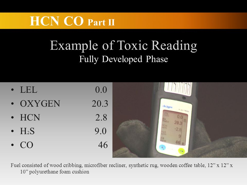 HCN CO Part II Example of Toxic Reading Fully Developed Phase LEL 0.0 OXYGEN 20.3 HCN 2.8 H 2 S 9.0 CO 46 Fuel consisted of wood cribbing, microfiber recliner, synthetic rug, wooden coffee table, 12 x 12 x 10 polyurethane foam cushion