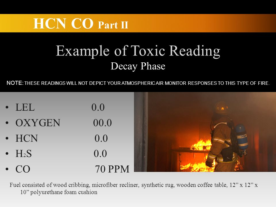 HCN CO Part II Example of Toxic Reading Decay Phase LEL 0.0 OXYGEN 00.0 HCN 0.0 H 2 S 0.0 CO 70 PPM Fuel consisted of wood cribbing, microfiber recliner, synthetic rug, wooden coffee table, 12 x 12 x 10 polyurethane foam cushion NOTE: THESE READINGS WILL NOT DEPICT YOUR ATMOSPHERIC AIR MONITOR RESPONSES TO THIS TYPE OF FIRE.