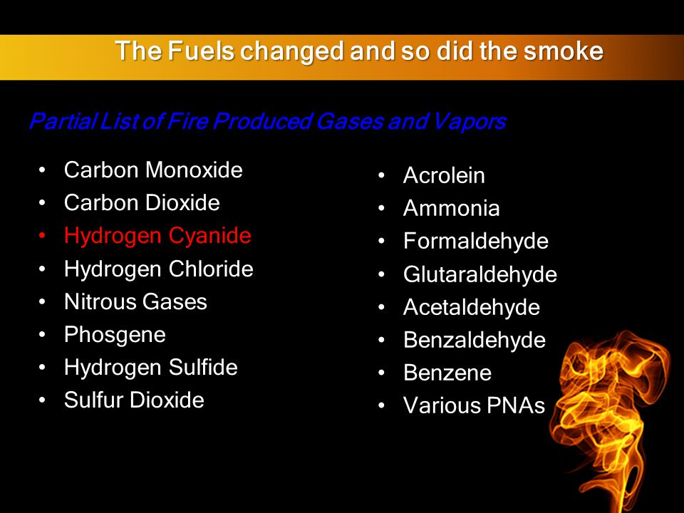 The Fuels changed and so did the smoke Partial List of Fire Produced Gases and Vapors Carbon Monoxide Carbon Dioxide Hydrogen Cyanide Hydrogen Chloride Nitrous Gases Phosgene Hydrogen Sulfide Sulfur Dioxide Acrolein Ammonia Formaldehyde Glutaraldehyde Acetaldehyde Benzaldehyde Benzene Various PNAs