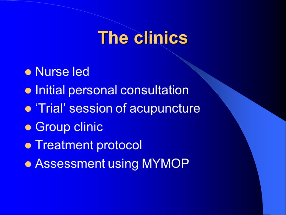 The clinics Nurse led Initial personal consultation 'Trial' session of acupuncture Group clinic Treatment protocol Assessment using MYMOP