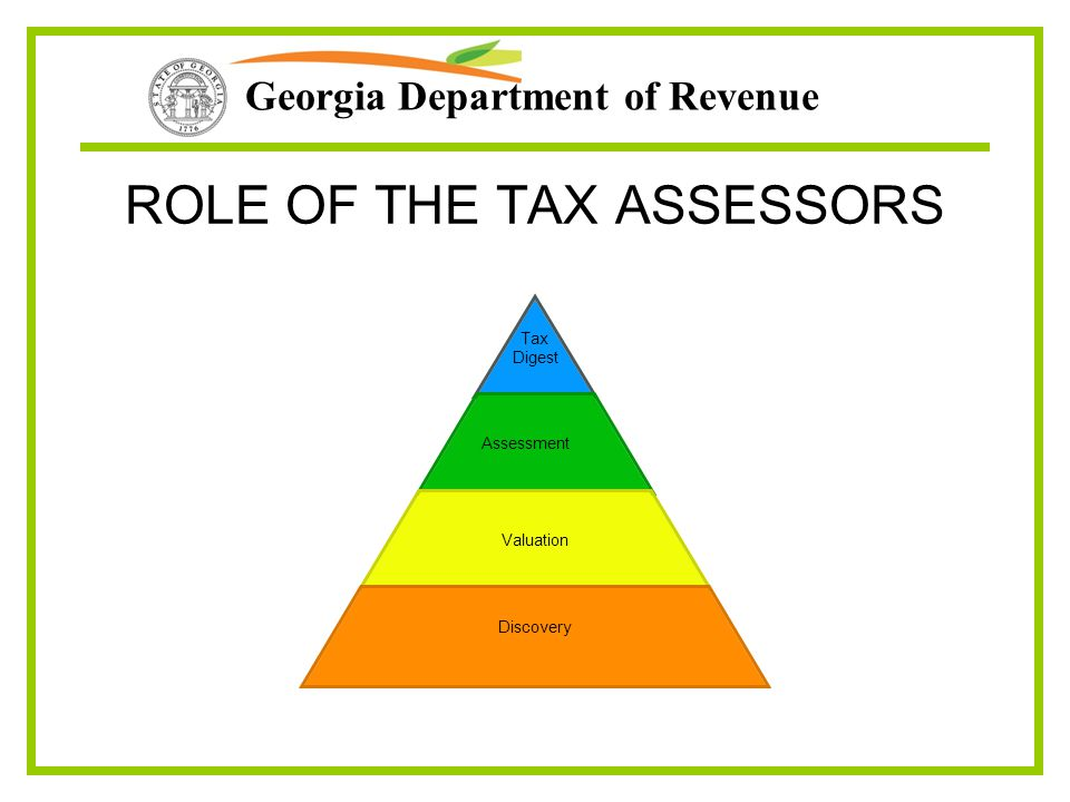 ROLE OF THE TAX ASSESSORS Tax Digest Assessment Valuation Discovery