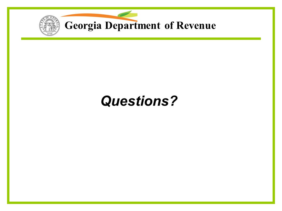 Georgia Department of Revenue Questions?