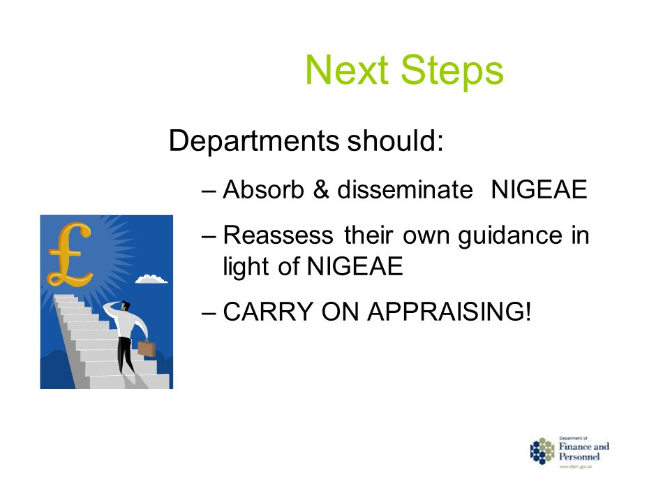 Next Steps Departments should: –Absorb & disseminate NIGEAE –Reassess their own guidance in light of NIGEAE –CARRY ON APPRAISING!