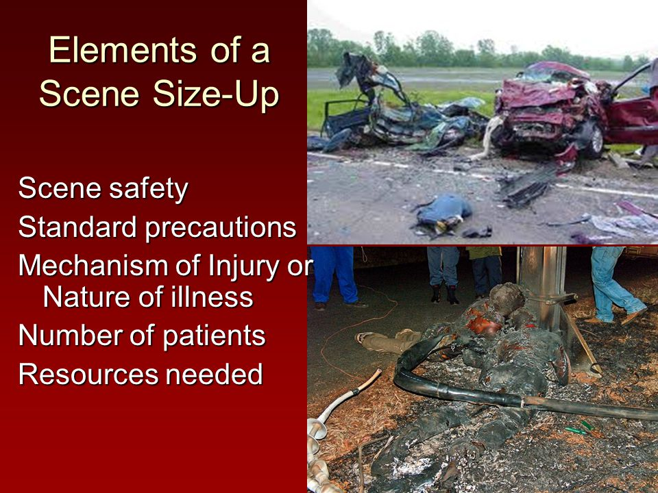 Scene safety Standard precautions Mechanism of Injury or Nature of illness Number of patients Resources needed Elements of a Scene Size-Up