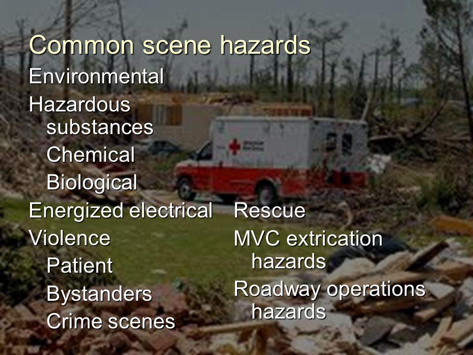 Environmental Hazardous substances ChemicalBiological Energized electrical ViolencePatientBystanders Crime scenes Rescue MVC extrication hazards Roadway operations hazards Common scene hazards
