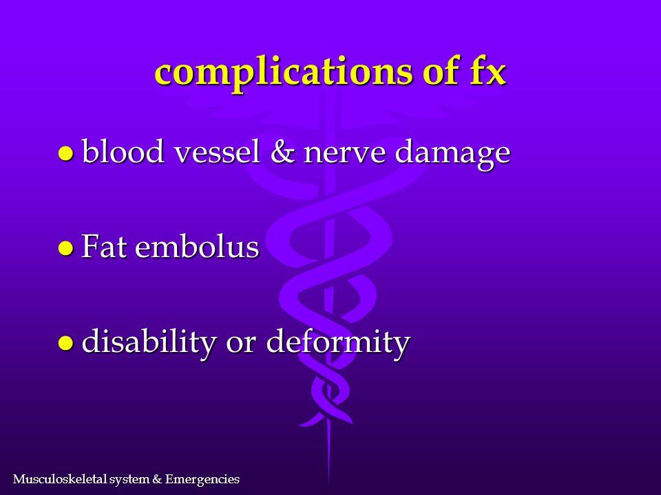 Musculoskeletal system & Emergencies Types of Fractures l Green stick l Spiral l Transverse l Comminuted l Pathologic l Epiphyseal