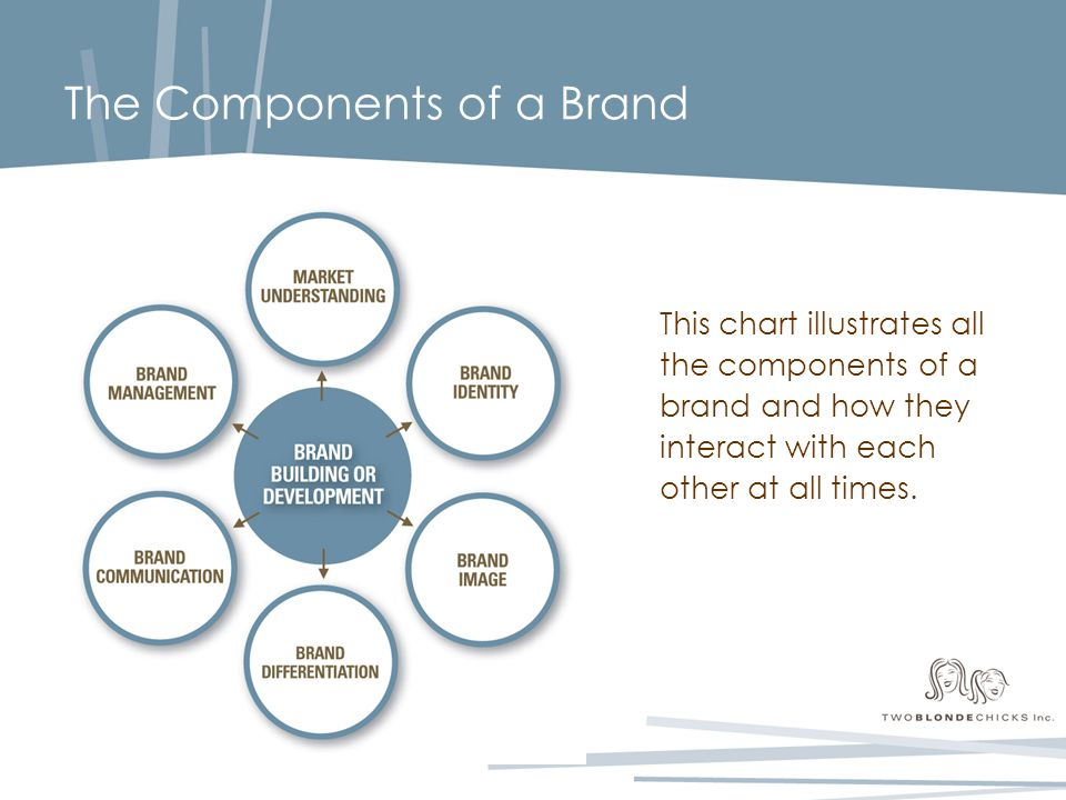 The Components of a Brand This chart illustrates all the components of a brand and how they interact with each other at all times.