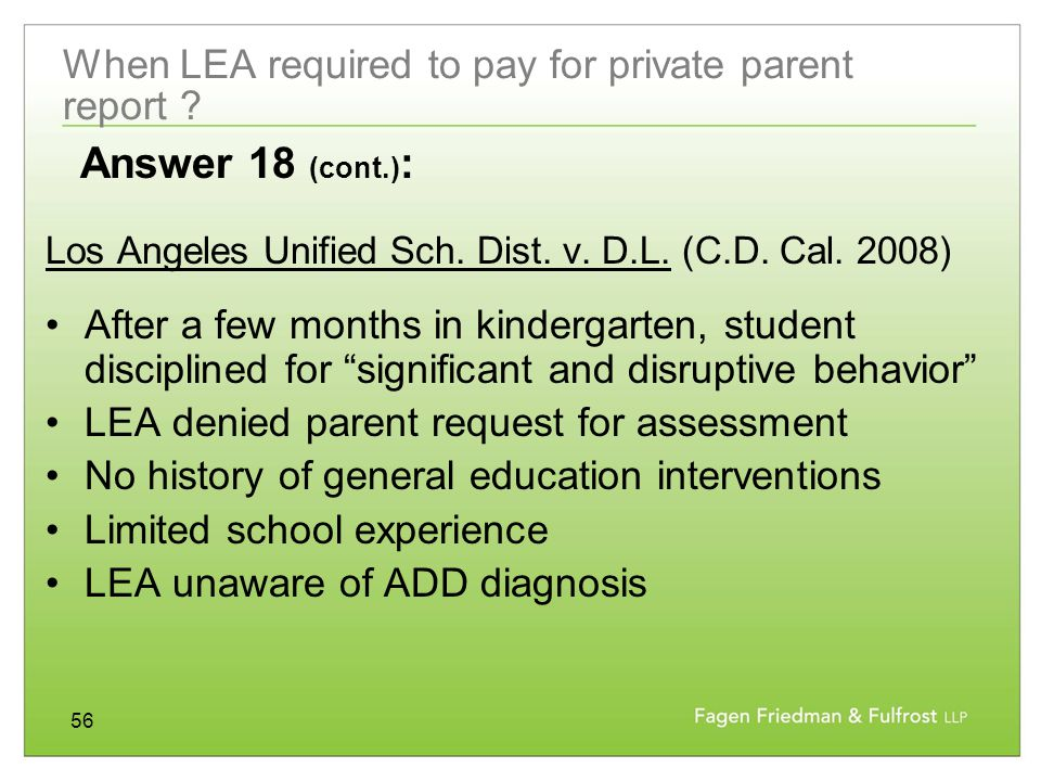 56 When LEA required to pay for private parent report .