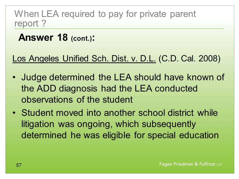 57 When LEA required to pay for private parent report .