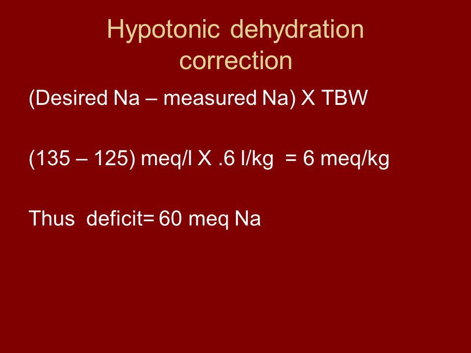 Hypotonic dehydration correction (Desired Na – measured Na) X TBW (135 – 125) meq/l X.6 l/kg = 6 meq/kg Thus deficit= 60 meq Na
