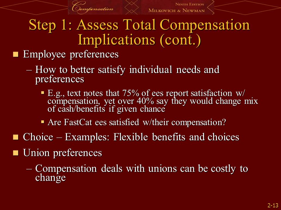 2-13 Step 1: Assess Total Compensation Implications (cont.) Employee preferences Employee preferences –How to better satisfy individual needs and pref