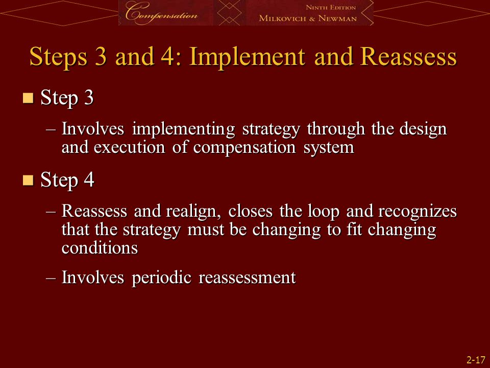2-17 Steps 3 and 4: Implement and Reassess Step 3 Step 3 –Involves implementing strategy through the design and execution of compensation system Step