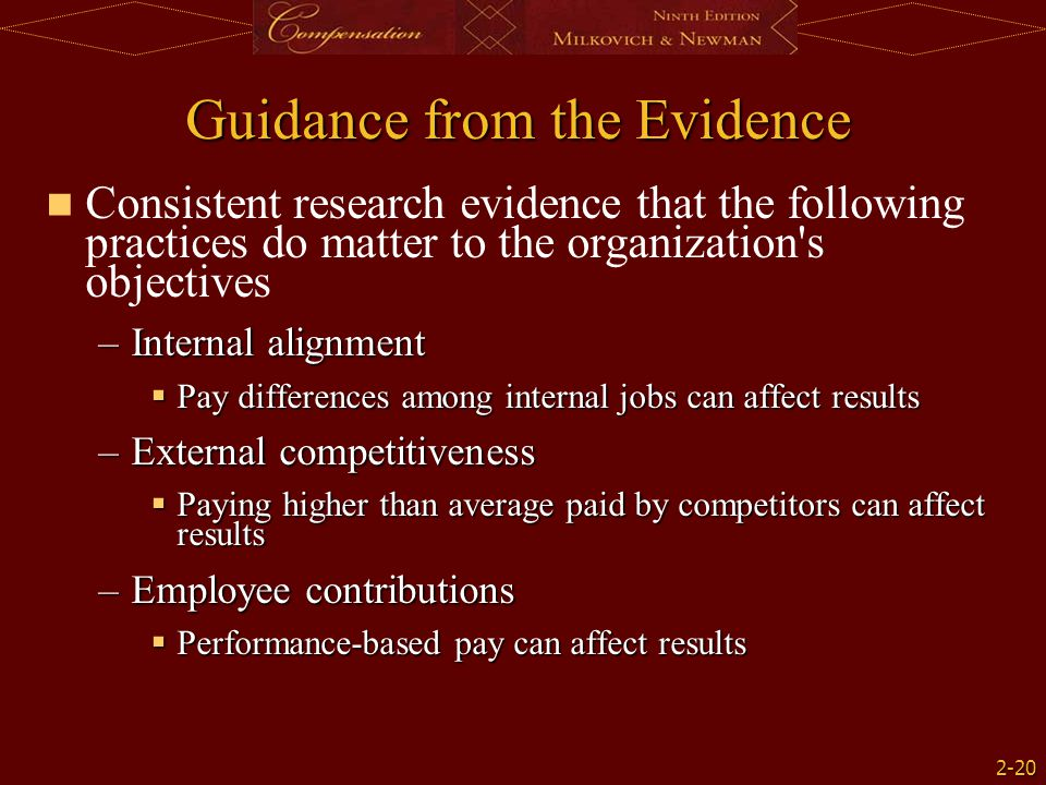 2-20 Guidance from the Evidence Consistent research evidence that the following practices do matter to the organization's objectives –Internal alignme