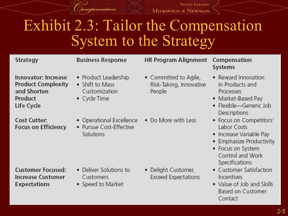 2-5 Exhibit 2.3: Tailor the Compensation System to the Strategy