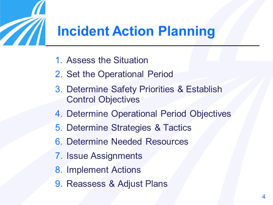 4 Incident Action Planning 1.Assess the Situation 2.Set the Operational Period 3.Determine Safety Priorities & Establish Control Objectives 4.Determine Operational Period Objectives 5.Determine Strategies & Tactics 6.Determine Needed Resources 7.Issue Assignments 8.Implement Actions 9.Reassess & Adjust Plans