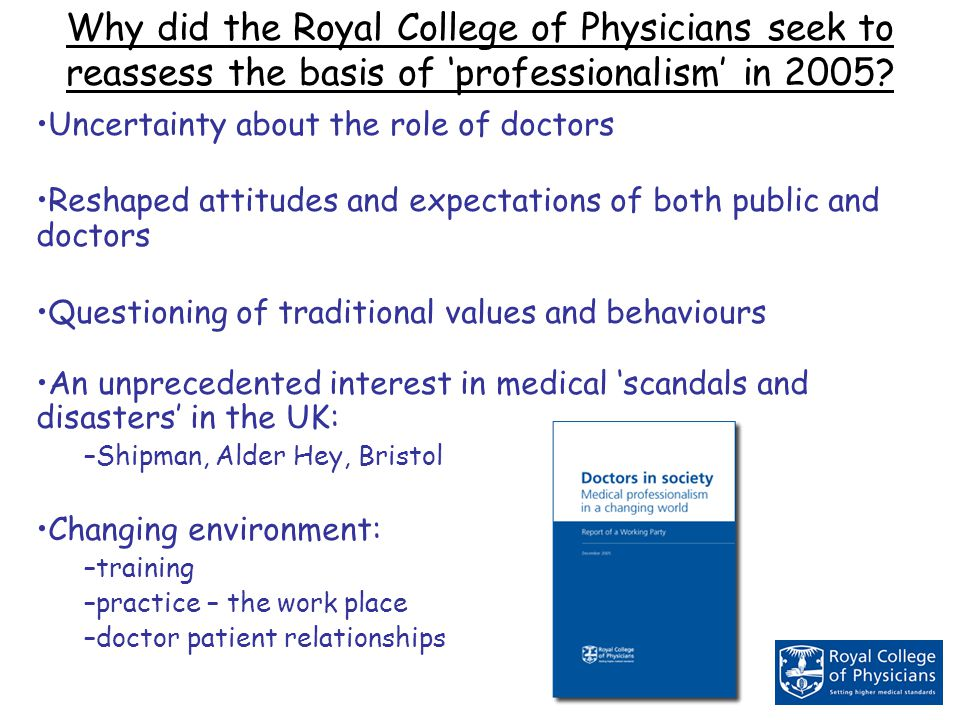 Why did the Royal College of Physicians seek to reassess the basis of 'professionalism' in 2005.