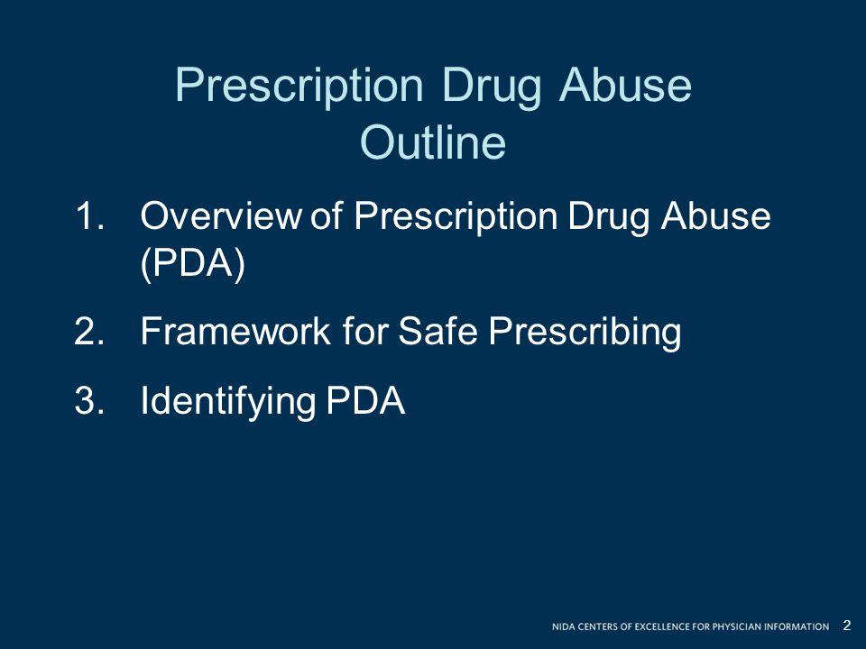 Prescription Drug Abuse Outline 2 1.Overview of Prescription Drug Abuse (PDA) 2.Framework for Safe Prescribing 3.Identifying PDA