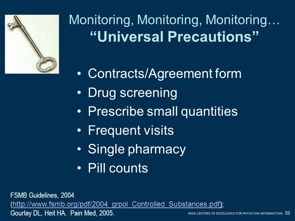 Monitoring, Monitoring, Monitoring… Universal Precautions Contracts/Agreement form Drug screening Prescribe small quantities Frequent visits Single pharmacy Pill counts FSMB Guidelines, 2004 ( http://www.fsmb.org/pdf/2004_grpol_Controlled_Substances.pdf) ; http://www.fsmb.org/pdf/2004_grpol_Controlled_Substances.pdf Gourlay DL, Heit HA.