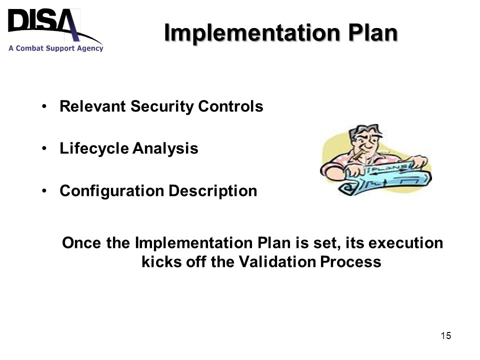 Implementation Plan Relevant Security Controls Lifecycle Analysis Configuration Description Once the Implementation Plan is set, its execution kicks off the Validation Process 15