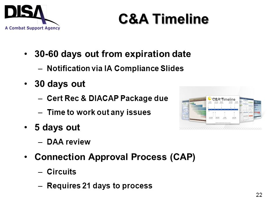 C&A Timeline 30-60 days out from expiration date –Notification via IA Compliance Slides 30 days out –Cert Rec & DIACAP Package due –Time to work out any issues 5 days out –DAA review Connection Approval Process (CAP) –Circuits –Requires 21 days to process C&A Timeline 22