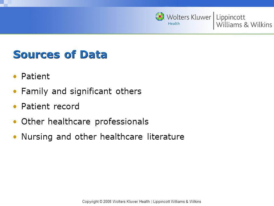 Copyright © 2008 Wolters Kluwer Health | Lippincott Williams & Wilkins Sources of Data Patient Family and significant others Patient record Other heal