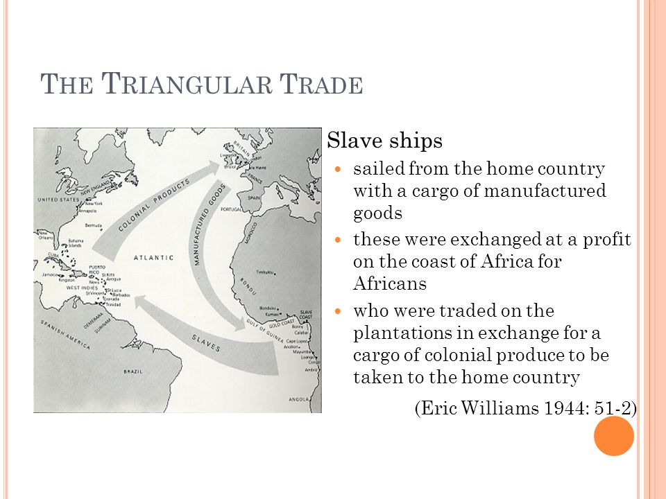 T HE T RIANGULAR T RADE Slave ships sailed from the home country with a cargo of manufactured goods these were exchanged at a profit on the coast of A