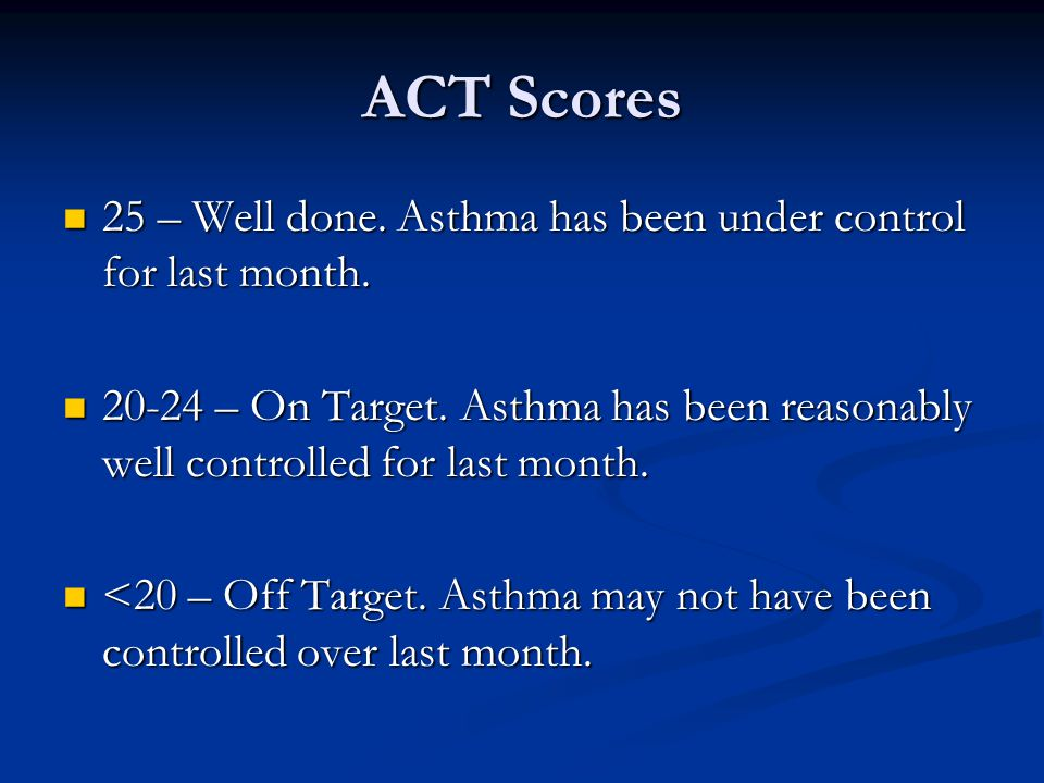 ACT Scores 25 – Well done. Asthma has been under control for last month.