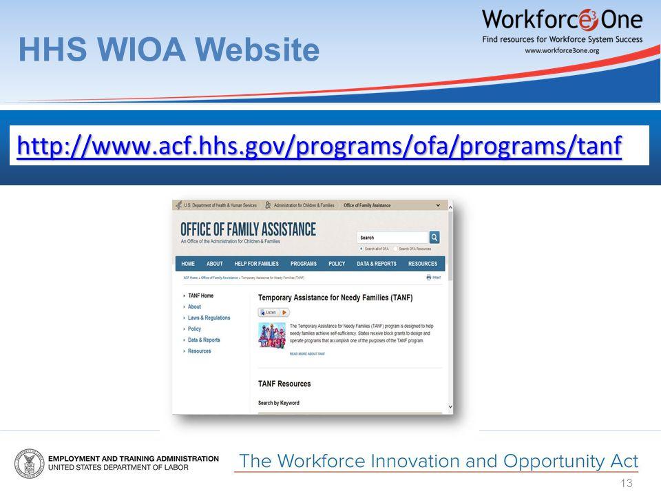HHS WIOA Website 13 http://www.acf.hhs.gov/programs/ofa/programs/tanf