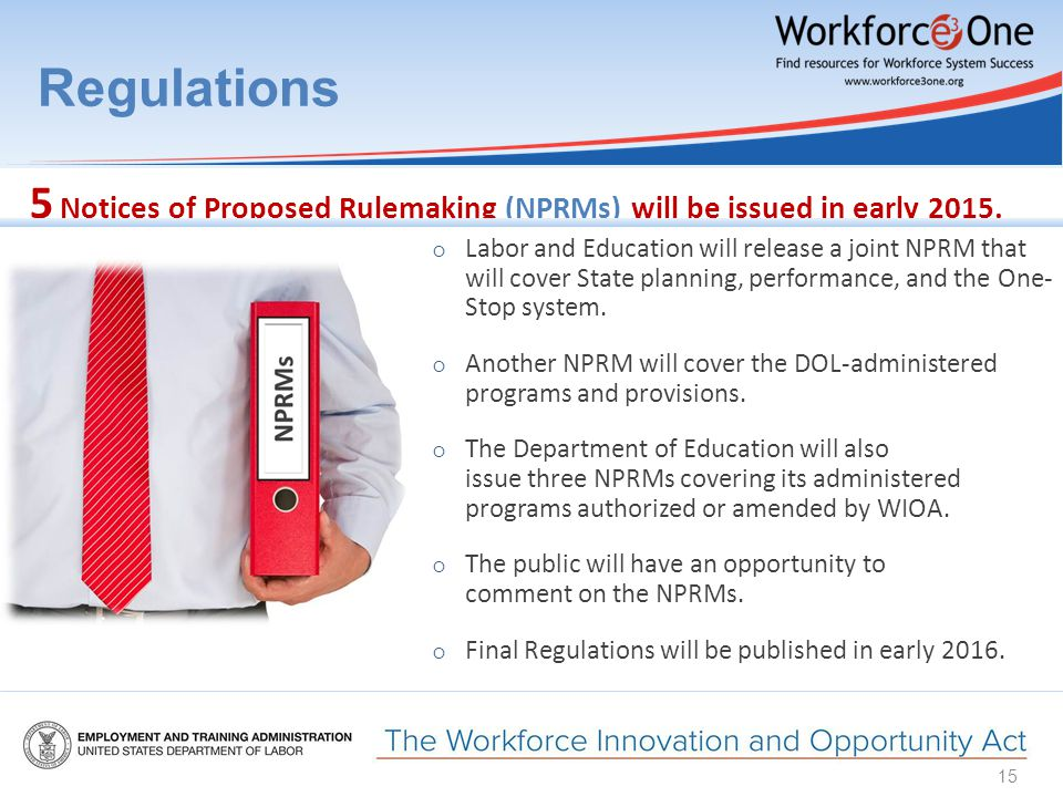 Regulations ○ Labor and Education will release a joint NPRM that will cover State planning, performance, and the One- Stop system.