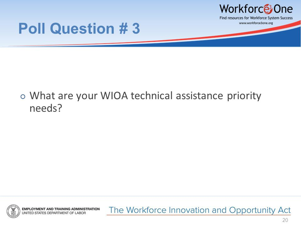 Poll Question # 3 ○ What are your WIOA technical assistance priority needs 20