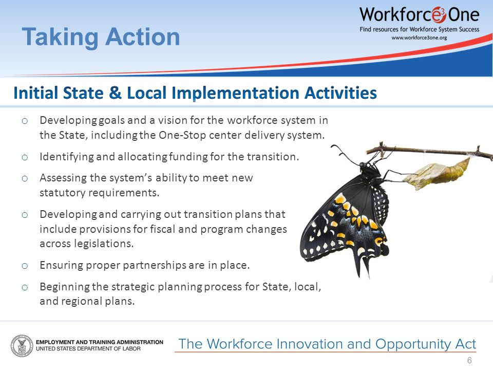 Taking Action 6 o Developing goals and a vision for the workforce system in the State, including the One-Stop center delivery system.
