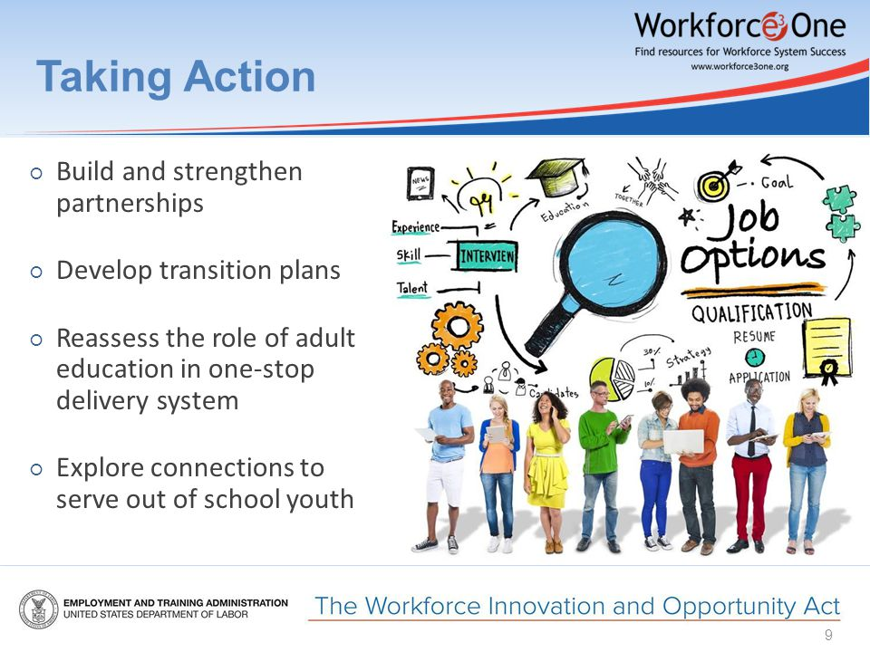 Taking Action ○ Build and strengthen partnerships ○ Develop transition plans ○ Reassess the role of adult education in one-stop delivery system ○ Explore connections to serve out of school youth 9