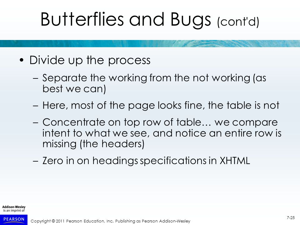 Copyright © 2011 Pearson Education, Inc. Publishing as Pearson Addison-Wesley 7-25 Butterflies and Bugs (cont'd) Divide up the process –Separate the w