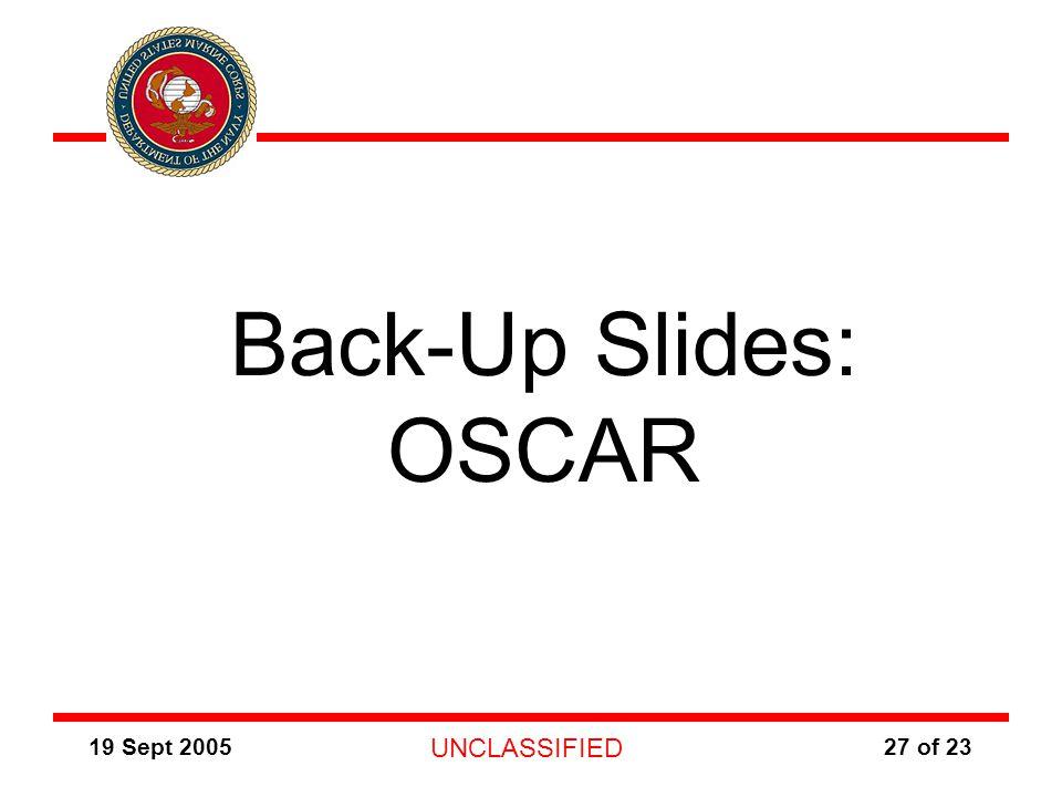 19 Sept 2005 UNCLASSIFIED 27 of 23 Back-Up Slides: OSCAR