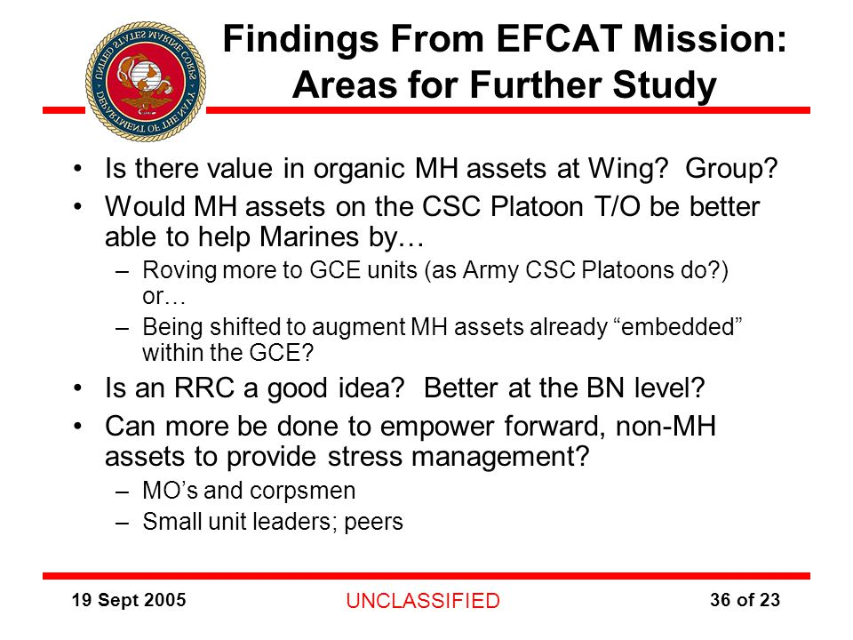 19 Sept 2005 UNCLASSIFIED 36 of 23 Findings From EFCAT Mission: Areas for Further Study Is there value in organic MH assets at Wing.