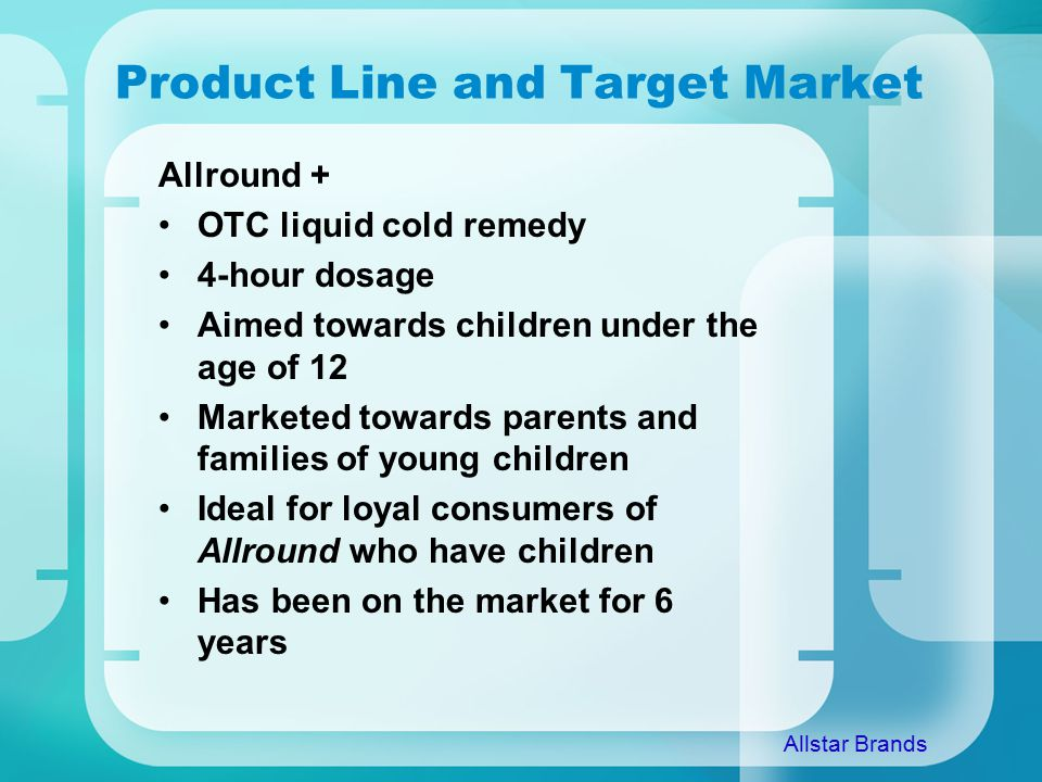 Product Line and Target Market Allround + OTC liquid cold remedy 4-hour dosage Aimed towards children under the age of 12 Marketed towards parents and families of young children Ideal for loyal consumers of Allround who have children Has been on the market for 6 years Allstar Brands