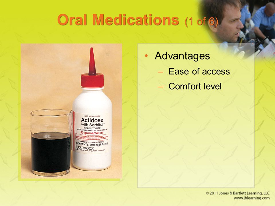 Oral Medications (1 of 6) Advantages –Ease of access –Comfort level