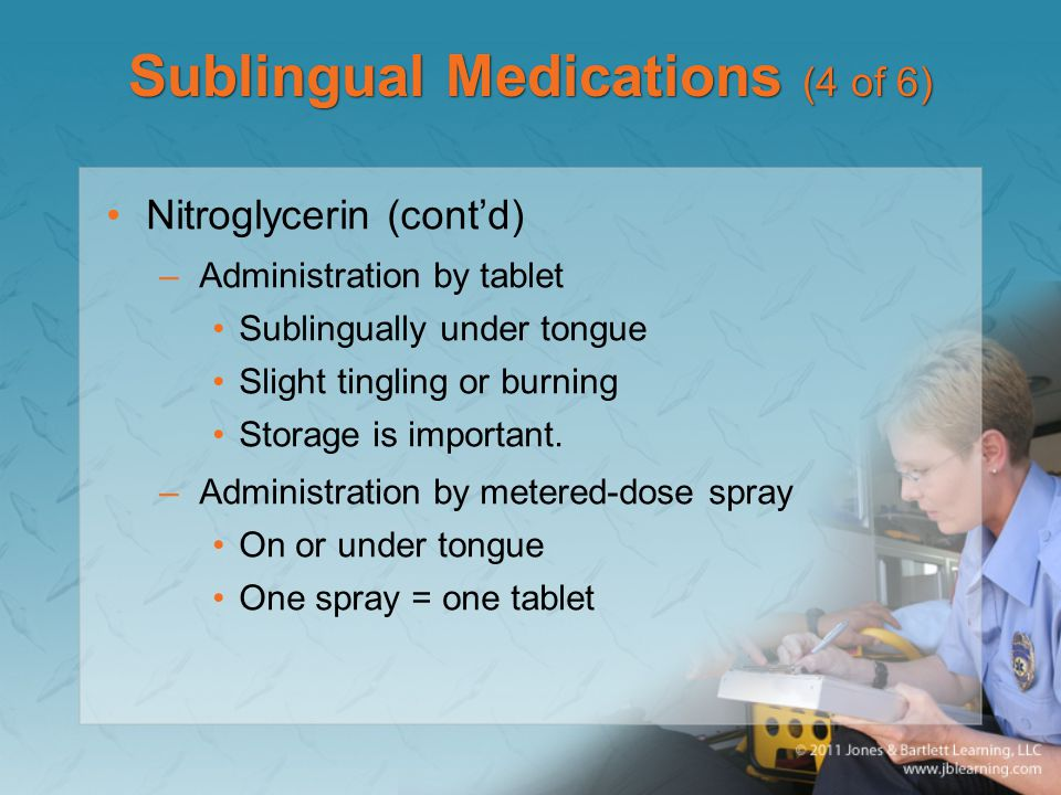 Sublingual Medications (4 of 6) Nitroglycerin (cont'd) –Administration by tablet Sublingually under tongue Slight tingling or burning Storage is impor