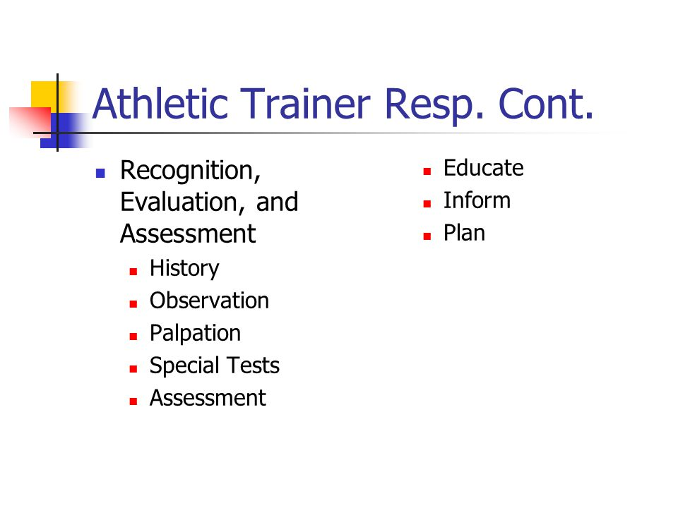 Athletic Trainer responsibilities Prevention Educate and Instruct Bracing and Taping Monitor Safety of Participation Facilitate Safe Conditioning Sanitation Promotion of Nutritional Concerns