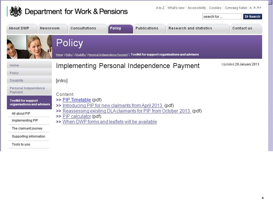 14 Department for Work & Pensions Toolkit for support organisations and advisers Implementing Personal Independence Payment [intro] Content >> PIP Tim