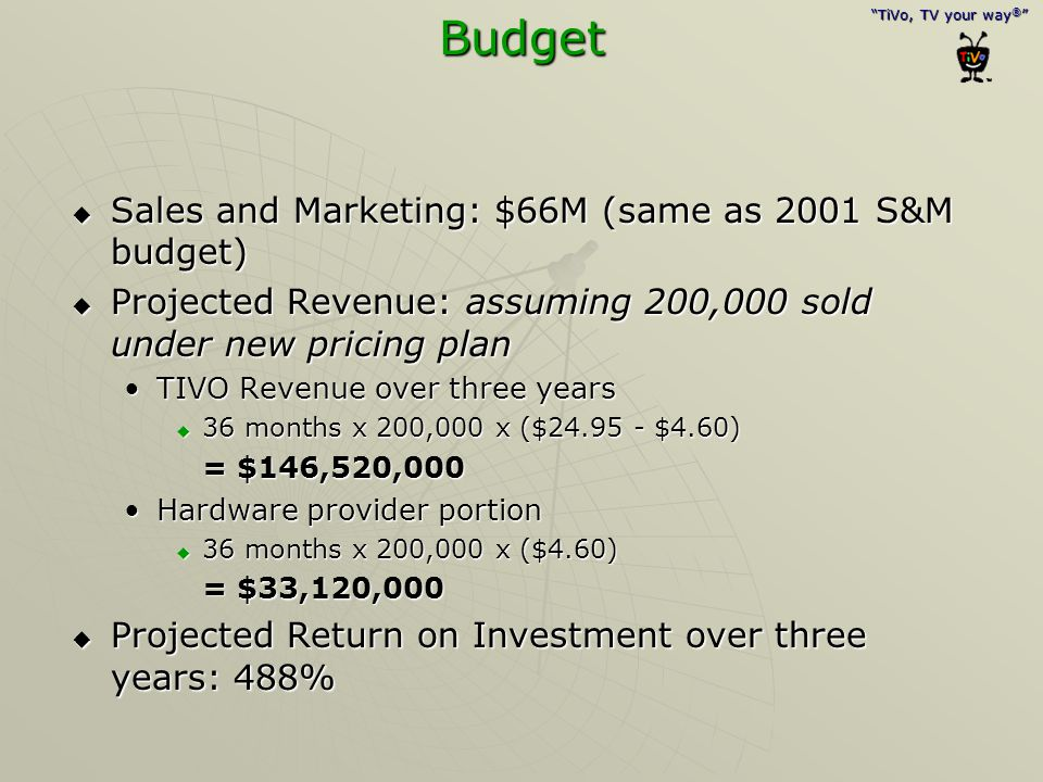 """""""TiVo, TV your way ® """" Budget  Sales and Marketing: $66M (same as 2001 S&M budget)  Projected Revenue: assuming 200,000 sold under new pricing plan"""