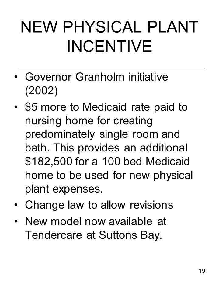 19 NEW PHYSICAL PLANT INCENTIVE Governor Granholm initiative (2002) $5 more to Medicaid rate paid to nursing home for creating predominately single room and bath.