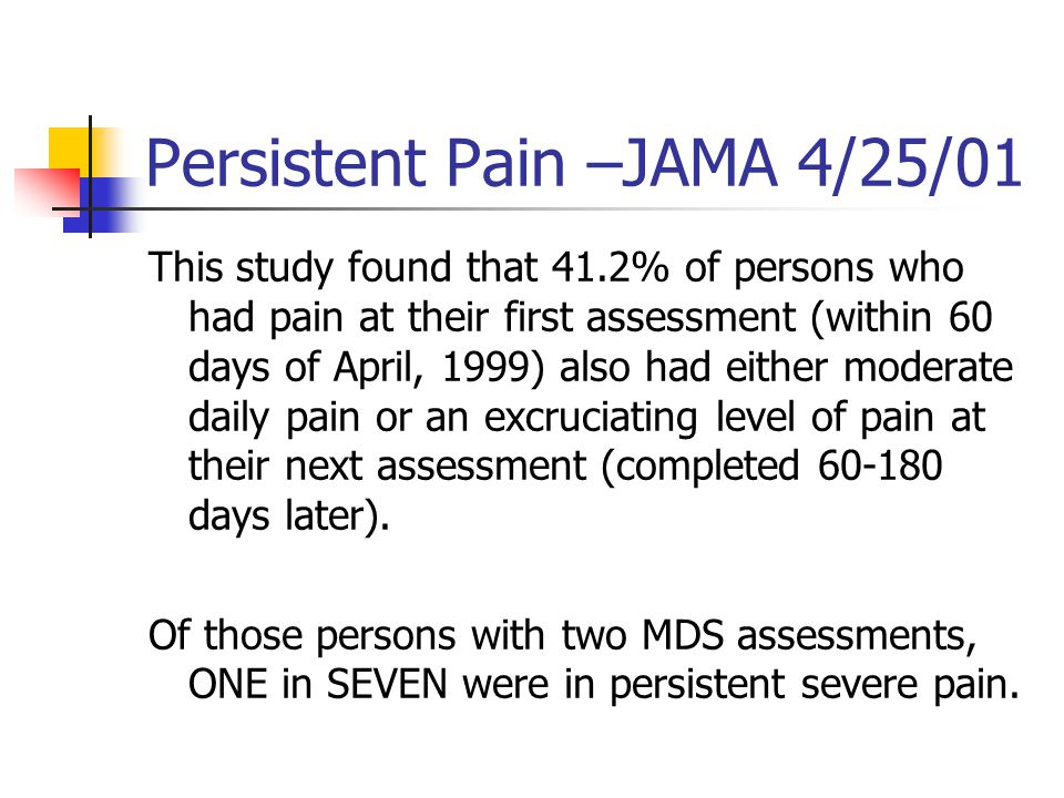 Persistent Pain –JAMA 4/25/01 This study found that 41.2% of persons who had pain at their first assessment (within 60 days of April, 1999) also had either moderate daily pain or an excruciating level of pain at their next assessment (completed 60-180 days later).