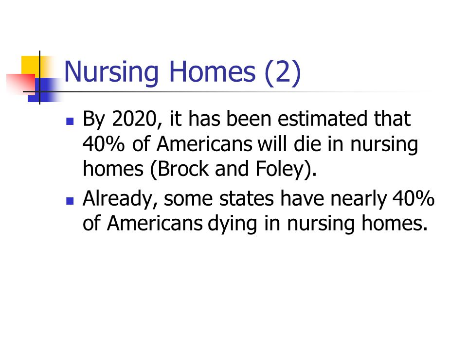 Nursing Homes (2) By 2020, it has been estimated that 40% of Americans will die in nursing homes (Brock and Foley).